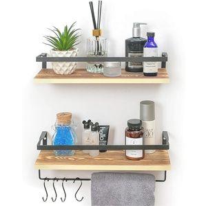 Set of 2 Wall Mounted Wood Shelves